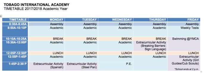 20172018TIA Timetable